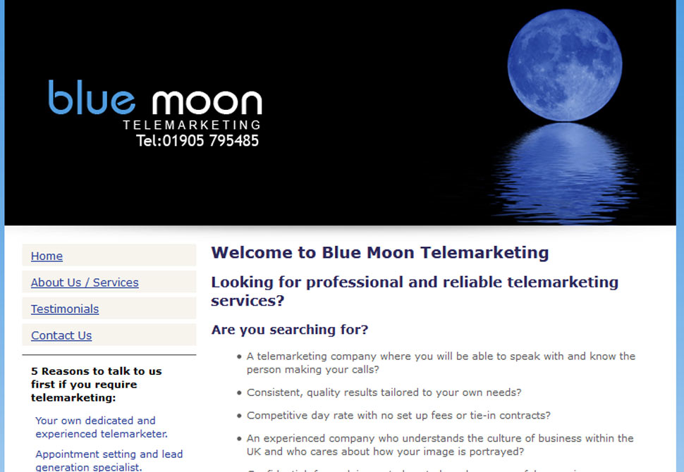 blue moon telemarketing website portfolio