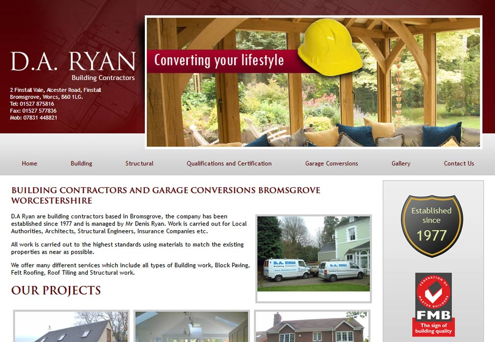 d.a ryan building contractors website portfolio