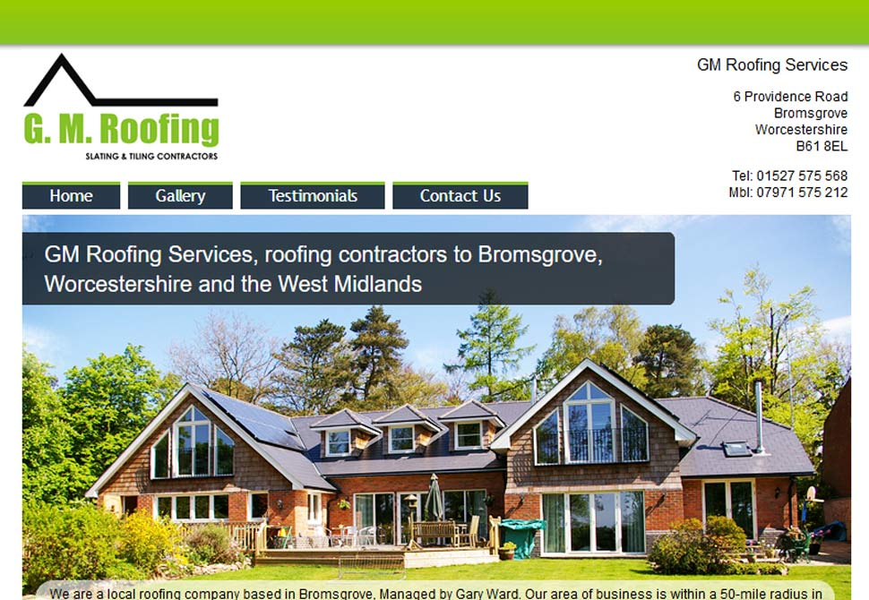 g.m roofing website portfolio