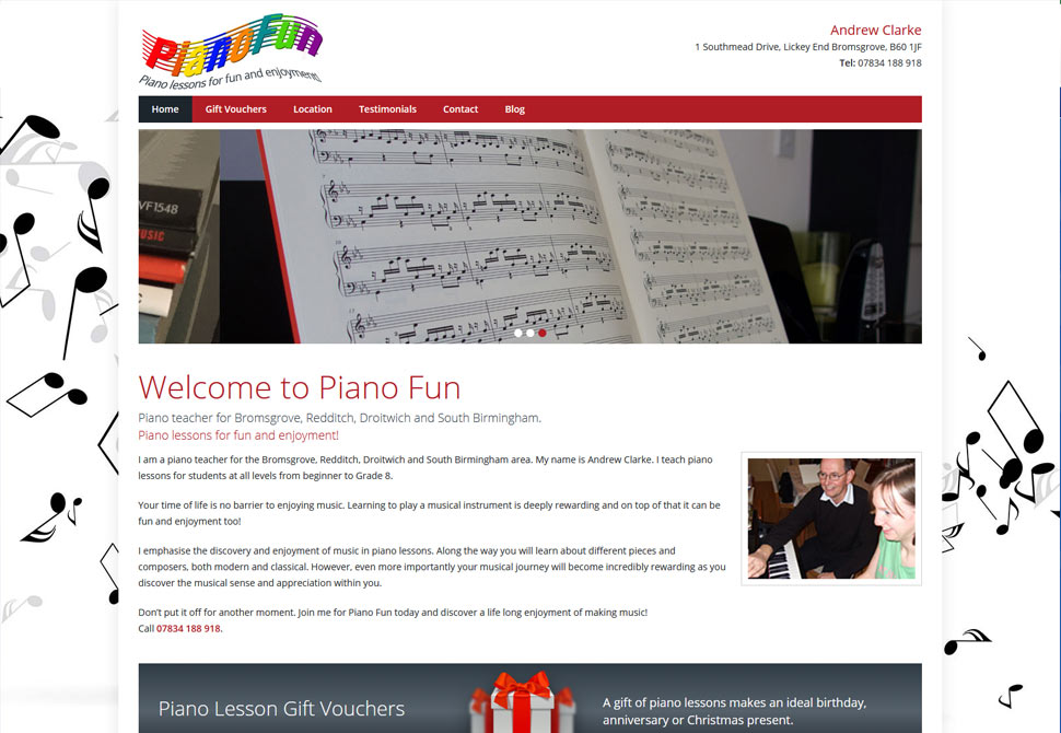 piano fun website portfolio