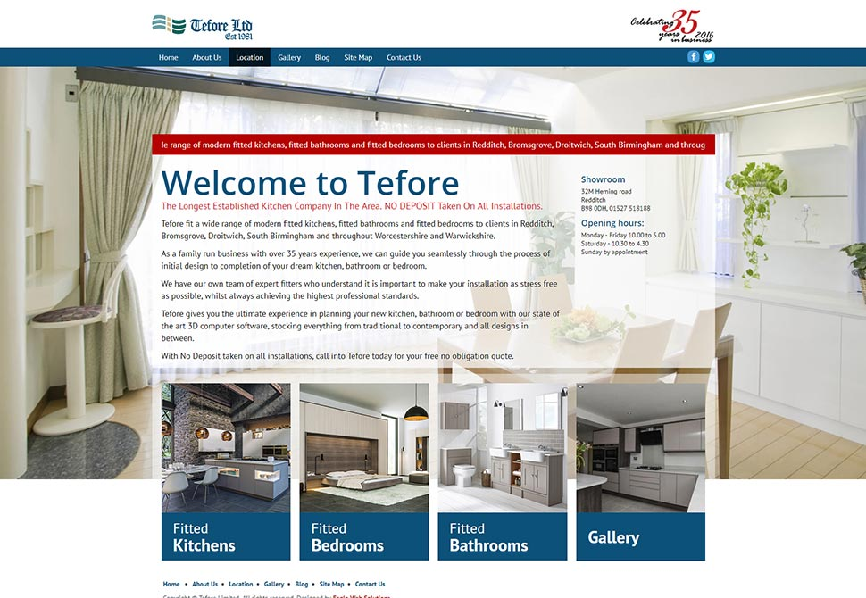 tefore kitchens website portfolio