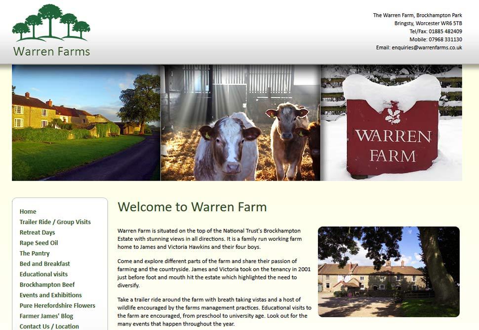 warren farms website portfolio