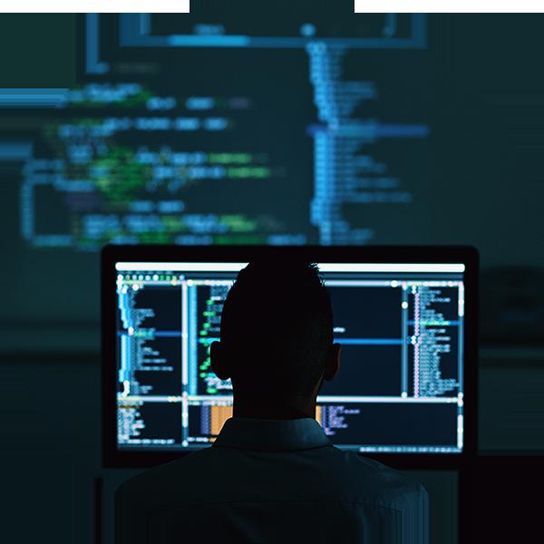 programmer infront of a computer